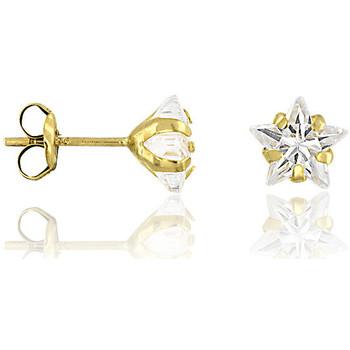 Montres & Bijoux Femme Boucles d'oreilles Cleor Boucles d'oreilles  en Or 375/1000 Jaune et Oxyde Blanc