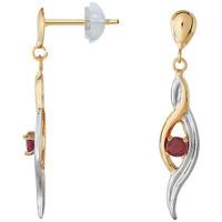 Montres & Bijoux Femme Boucles d'oreilles Cleor Boucles d'oreilles  en Or 375/1000 et Rubis Blanc