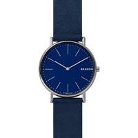 Montres & Bijoux Montres Analogiques Skagen Montre Homme  en Cuir Bleu Bleu