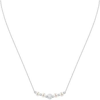 Montres & Bijoux Femme Colliers / Sautoirs Cleor Collier  en Argent 925/1000 et Perle Synthétique Blanche Blanc
