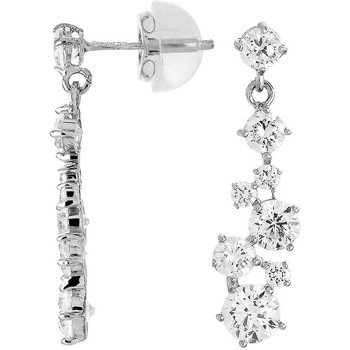 Montres & Bijoux Femme Boucles d'oreilles Cleor Boucles d'oreilles  en Or 375/1000 Blanc et Oxyde Blanc
