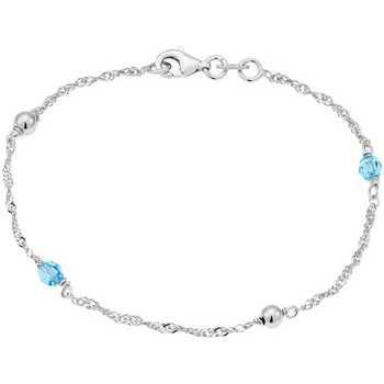 Montres & Bijoux Femme Bracelets Cleor Bracelet  en Argent 925/1000 et Oxyde Bleu Blanc