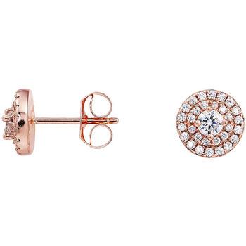 Montres & Bijoux Femme Boucles d'oreilles Square Boucles d'oreilles  en Argent 925/1000 Rose et Oxyde Blanc