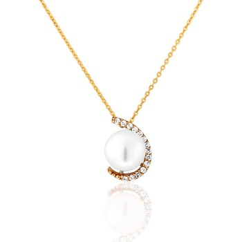 Montres & Bijoux Femme Colliers / Sautoirs Cleor Collier  en Or 375/1000 Jaune et Perle de culture Blanche Jaune