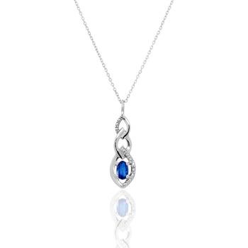 Montres & Bijoux Femme Colliers / Sautoirs Cleor Collier  en Or 375/1000, Saphir et Diamant Blanc