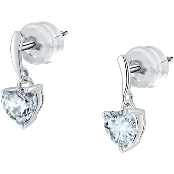 Montres & Bijoux Femme Boucles d'oreilles Cleor Boucles d'oreilles  en Or 375/1000 Blanc et Topaze Blanc