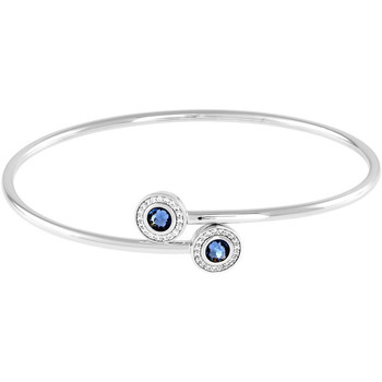 Montres & Bijoux Femme Bracelets Cleor Jonc  en Argent 925/1000 et Oxyde Bicolore Blanc