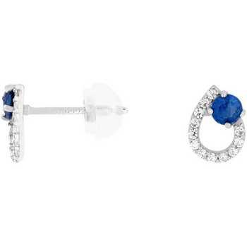 Montres & Bijoux Femme Boucles d'oreilles Cleor Boucles d'oreilles  en Or 375/1000 Blanc et Saphir Blanc