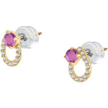 Montres & Bijoux Femme Boucles d'oreilles Cleor Boucles d'oreilles  en Or 375/1000 Jaune et Rubis Blanc