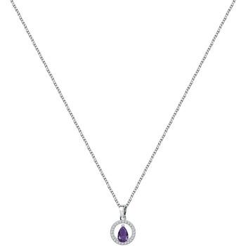 Montres & Bijoux Femme Colliers / Sautoirs Cleor Collier  en Argent 925/1000 et Oxyde Violet Blanc