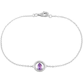 Montres & Bijoux Femme Bracelets Cleor Bracelet  en Argent 925/1000 et Oxyde Violet Blanc