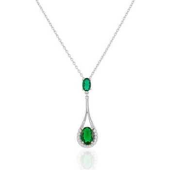 Montres & Bijoux Femme Colliers / Sautoirs Cleor Collier  en Argent 925/1000 et Oxyde Vert Blanc