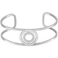 Montres & Bijoux Femme Bracelets Les Etincelantes Manchette  en Acier et Cristal Blanc