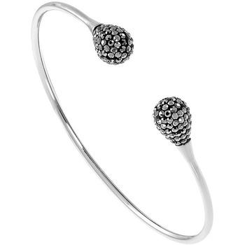 Montres & Bijoux Femme Bracelets Les Etincelantes Jonc  en Acier et Cristal Noir Blanc