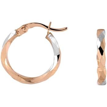 Montres & Bijoux Femme Boucles d'oreilles Cleor Créoles  en Or 375/1000 Bicolore Blanc