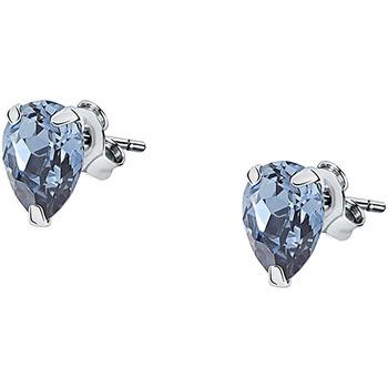 Montres & Bijoux Femme Boucles d'oreilles Cleor Puces  en Argent 925/1000 et Cristal Bleu Blanc