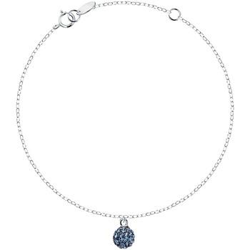 Montres & Bijoux Femme Bracelets Cleor Bracelet  en Argent 925/1000 et Cristal Bleu Blanc