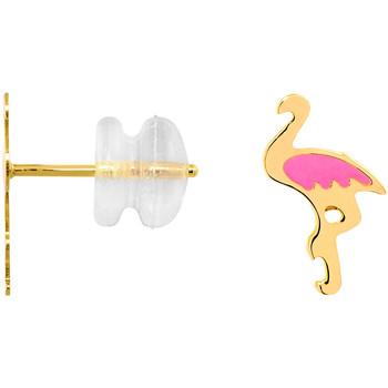 Montres & Bijoux Femme Boucles d'oreilles Cleor Boucles d'oreilles  en Or 375/1000 Jaune et Laque Rose Jaune