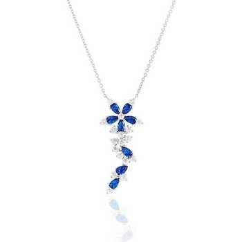 Montres & Bijoux Femme Colliers / Sautoirs Cleor Collier  en Argent 925/1000 et Oxyde Bleu Blanc