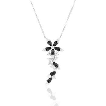 Montres & Bijoux Femme Colliers / Sautoirs Cleor Collier  en Argent 925/1000 Blanc et Oxyde Noir Blanc