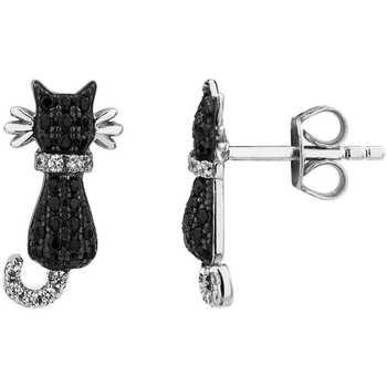 Montres & Bijoux Femme Boucles d'oreilles Cleor Boucles d'oreilles  en Argent 925/1000 et Oxyde Noir Blanc