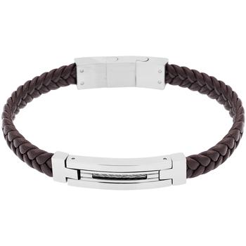Montres & Bijoux Femme Bracelets Zephyr Bracelet  en Acier et Cuir Noir Noir