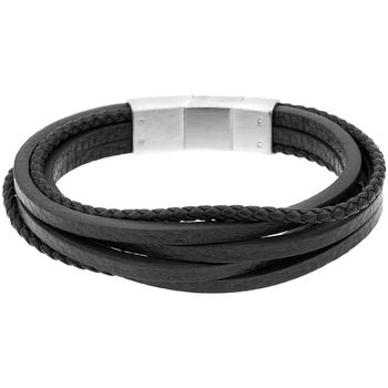 Montres & Bijoux Bracelets Zephyr Bracelet  en Acier et Cuir Noir Noir