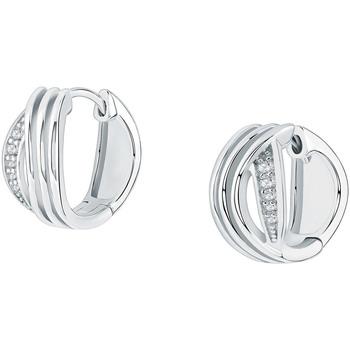 Montres & Bijoux Femme Boucles d'oreilles Cleor Créoles  en Argent 925/1000 et Oxyde Blanc