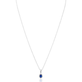 Montres & Bijoux Femme Colliers / Sautoirs Cleor Collier  en Argent 925/1000, Verre Bleu et Oxyde Blanc