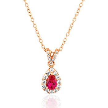 Montres & Bijoux Femme Colliers / Sautoirs Cleor Collier  en Argent 925/1000 Rose, Verre Rouge et Oxyde Rose