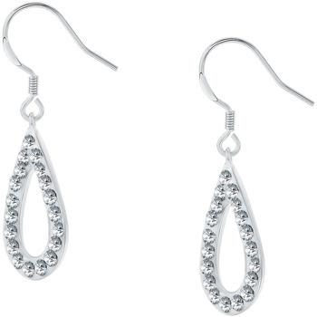 Montres & Bijoux Femme Boucles d'oreilles Cleor Boucles d'oreilles  en Argent 925/1000 et Cristal Blanc Blanc