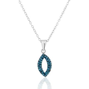 Montres & Bijoux Femme Colliers / Sautoirs Cleor Collier  en Argent 925/1000 et Cristal Bleu Blanc