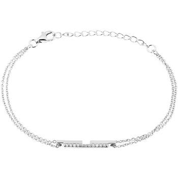 Montres & Bijoux Femme Bracelets Square Bracelet  en Argent 925/1000 Blanc et Oxyde Gris
