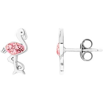 Montres & Bijoux Femme Boucles d'oreilles Cleor Boucles d'oreilles  en Argent 925/1000 et Cristal Rose Blanc