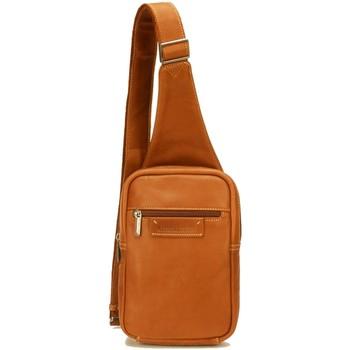 Sacs Homme Pochettes / Sacoches Arthur & Aston Sacoche asymétrique Arthur et Aston en cuir ref_51 marron