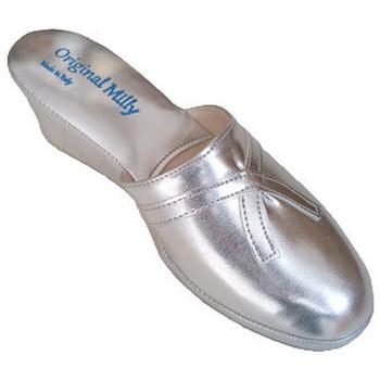 Chaussures Femme Mules Original Milly PANTOUFLE DE CHAMBRE MILLY - 2000 ARGENT Argenté