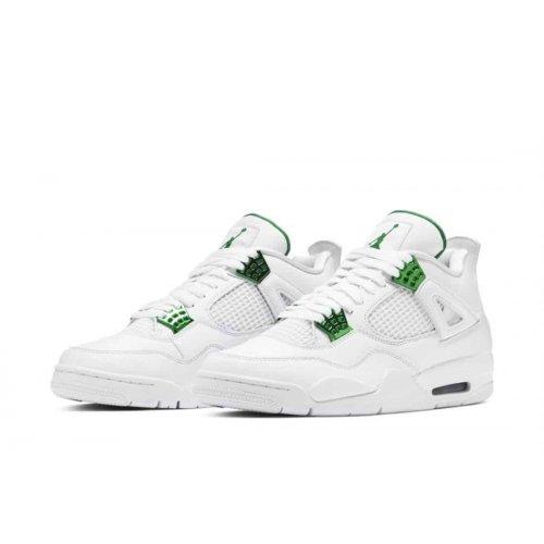 Nike Air Jordan 4 Metallic Green White/Pine Green-Metallic Silver ...