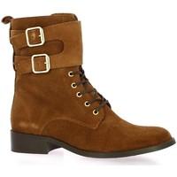 Chaussures Femme Boots Impact Rangers cuir velours Cognac