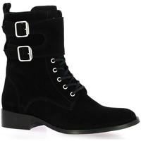 Chaussures Femme Boots Impact Rangers cuir velours Noir