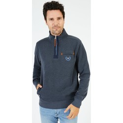 Vêtements Homme Sweats Black Wellis Sweat col montant zippé 1859 WELLINGTON Bleu