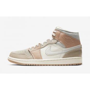 Chaussures Baskets montantes Nike Air Jordan 1 Mid Milan Sail/Light Bone-String-Shimmer