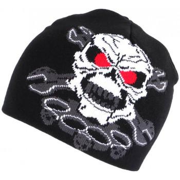 Accessoires textile Bonnets Nyls Création Bonnet Biker Tete de Mort Rouge et Noir en Laine Motard Fashion Noir