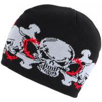 Accessoires textile Bonnets Nyls Création Bonnet Tete de Mort Gris et Rouge Laine Look Biker Fashion Noir