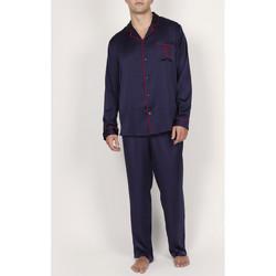 Vêtements Homme Pyjamas / Chemises de nuit Admas For Men Pyjama satin pantalon chemise Classic Admas Bleu Marine