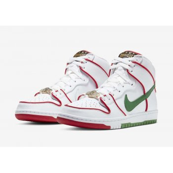 Chaussures Baskets montantes Nike SB Dunk High x Paul Rodriguez White/Red/Green
