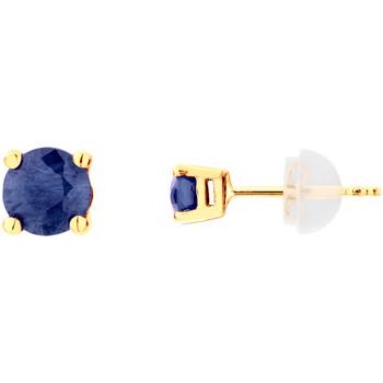 Montres & Bijoux Femme Boucles d'oreilles Cleor Boucles d'oreilles  en Or 375/1000 Jaune et Saphir Jaune