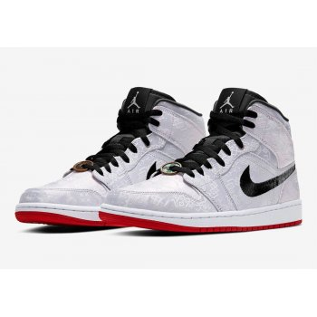 Chaussures Baskets montantes Nike Air Jordan 1 Mid Fearless x CLOT White/Black/Red