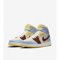 Chaussures Baskets montantes Nike Air Jordan 1 Mid Fearless x Maison Château Rouge Pale Vanilla/Cinnamon