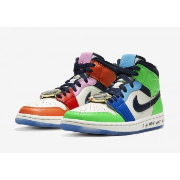 Chaussures Baskets montantes Nike Air Jordan 1 Mid Fearless x Melody Ehsani White/Black/Half Blue/Habanero Red