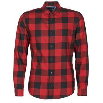 Vêtements Homme Chemises manches longues Jack & Jones JJEGINGHAM Rouge / Noir